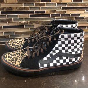 Vans leopard checkered hi sk8 old skool sneakers